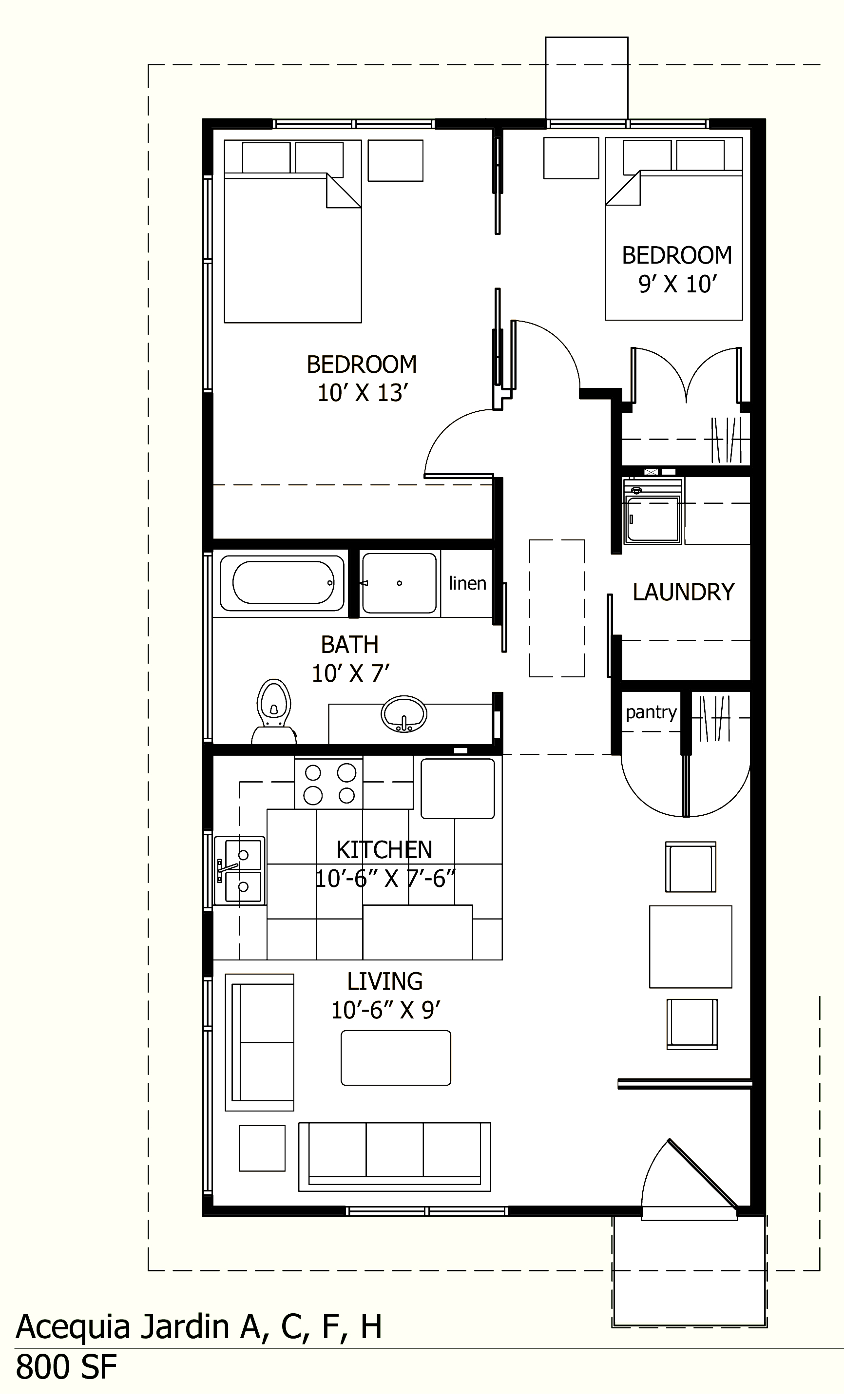 800 sq ft acequia jardin Small building plan